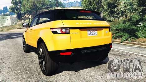 Range Rover Evoque для GTA 5 вид сзади слева