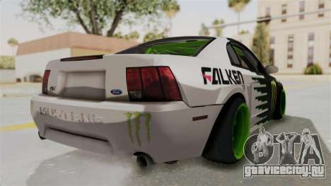 Ford Mustang 1999 Drift Monster Energy Falken для GTA San Andreas вид сзади слева
