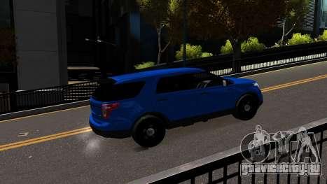 Ford Explorer 2013 для GTA 4 вид сзади