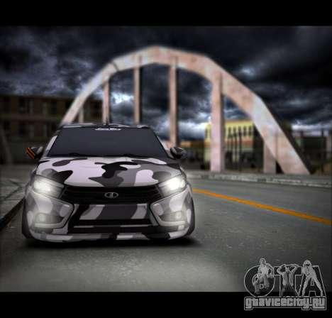 Lada Vesta Камуфляж для GTA San Andreas вид сзади слева