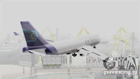 Boeing 747-400 Air India для GTA San Andreas вид справа