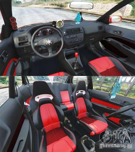 Honda Civic для GTA 5 вид сзади справа