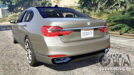 BMW 750Li xDrive (G12) 2016 для GTA 5 вид сзади слева