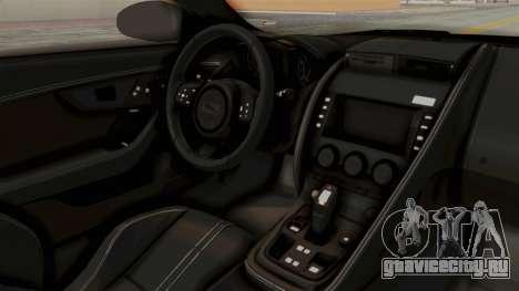 Jaguar F-Type L3D Store Edition для GTA San Andreas вид изнутри