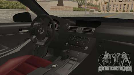 Lexus IS350 FSport Megami no Aqua для GTA San Andreas вид изнутри