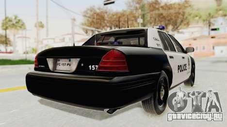 Ford Crown Victoria SFPD для GTA San Andreas вид сзади слева