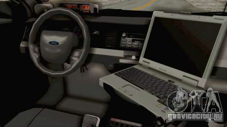 Ford Crown Victoria SFPD для GTA San Andreas вид изнутри