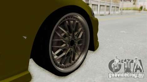 Honda Civic Fast and Furious для GTA San Andreas вид сзади