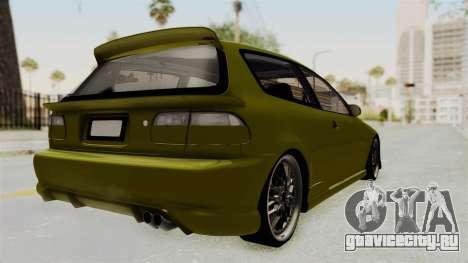 Honda Civic Fast and Furious для GTA San Andreas вид сзади слева