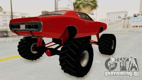 Dodge Charger 1971 Monster Truck для GTA San Andreas вид сзади слева