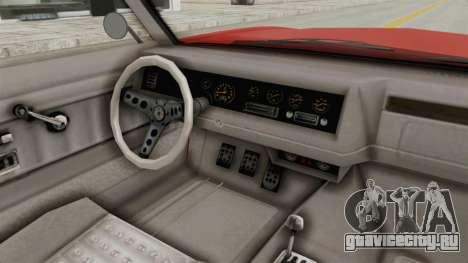 GTA 5 Declasse Sabre GT2 IVF для GTA San Andreas вид изнутри