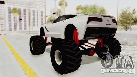 Chevrolet Corvette Stingray C7 Monster Truck для GTA San Andreas вид сзади слева