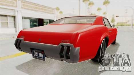 GTA 5 Declasse Sabre GT2 IVF для GTA San Andreas вид слева