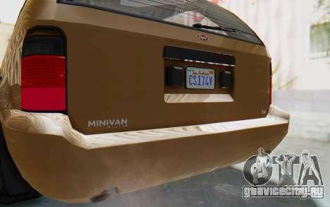 GTA 5 Vapid Minivan для GTA San Andreas вид изнутри