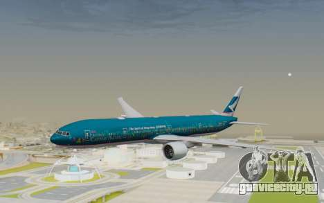 Boeing 777-300ER Cathay Pacific Airways v2 для GTA San Andreas вид сзади слева