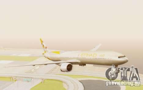 Boeing 777-300ER Etihad Airways для GTA San Andreas вид сзади слева