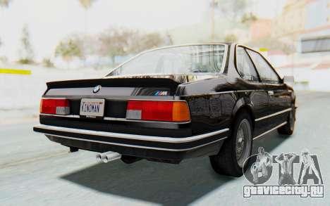 BMW M635 CSi (E24) 1984 HQLM PJ3 для GTA San Andreas вид сзади слева