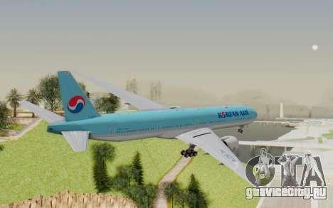 Boeing 777-300ER Korean Air для GTA San Andreas вид справа