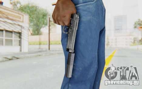 Tariq Iraqi Pistol Back v1 Silver Silenced для GTA San Andreas третий скриншот
