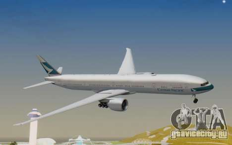 Boeing 777-300ER Cathay Pacific Airways v1 для GTA San Andreas вид сзади слева