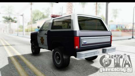 Ford Bronco 1982 Police для GTA San Andreas вид сзади слева