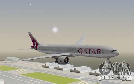 Boeing 777-300ER Qatar Airways v1 для GTA San Andreas вид сзади слева