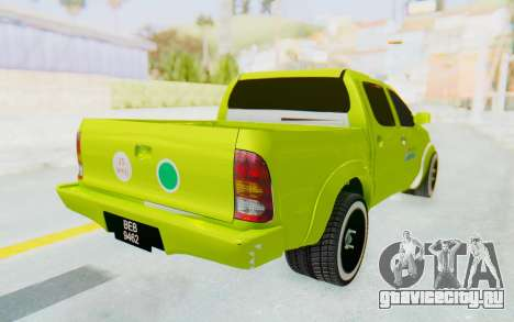 Toyota Hilux Malaysia Airports Green для GTA San Andreas вид сзади слева