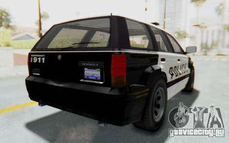 Canis Seminole Police Car для GTA San Andreas вид сзади слева