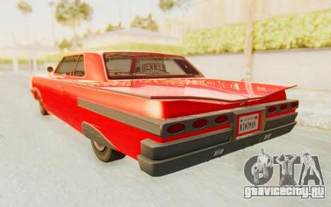 GTA 5 Declasse Voodoo Alternative v2 для GTA San Andreas вид сзади слева