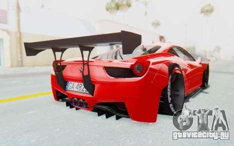 Ferrari 458 Liberty Walk для GTA San Andreas вид сзади