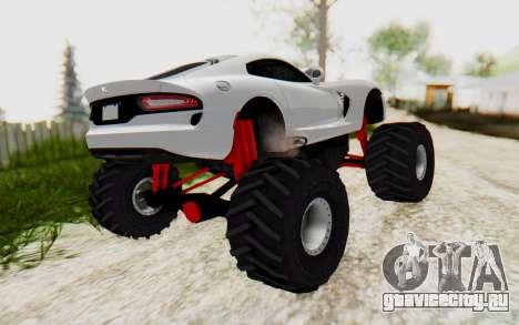Dodge Viper SRT GTS 2012 Monster Truck для GTA San Andreas вид сзади слева