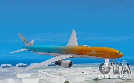 Boeing 777-300ER KLM - Royal Dutch Airlines v4 для GTA San Andreas вид сзади слева