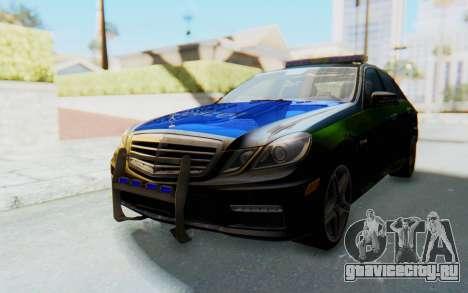 Mercedes-Benz E63 German Police Blue-Yellow для GTA San Andreas вид сзади слева