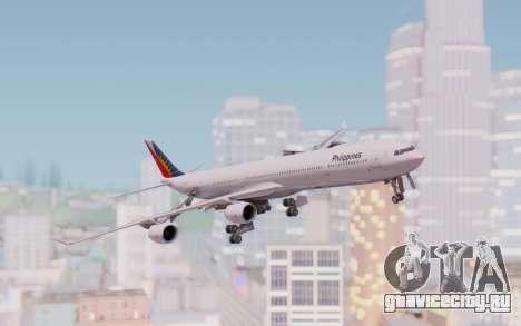 Airbus A340-600 Philippine Airlines для GTA San Andreas вид сзади слева