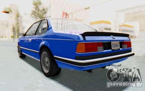 BMW M635 CSi (E24) 1984 HQLM PJ1 для GTA San Andreas вид сзади слева