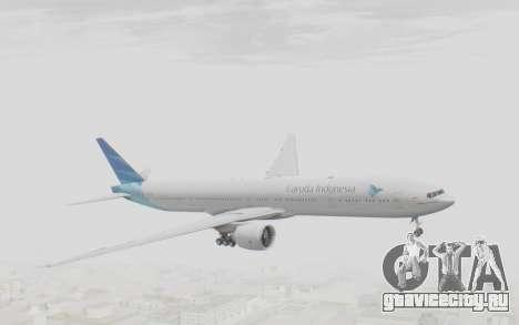 Boeing 777-300ER Garuda Indonesia для GTA San Andreas вид сзади слева