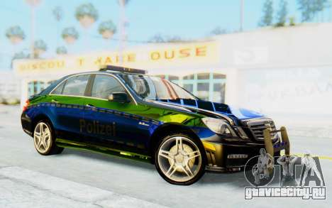 Mercedes-Benz E63 German Police Blue-Yellow для GTA San Andreas вид сзади