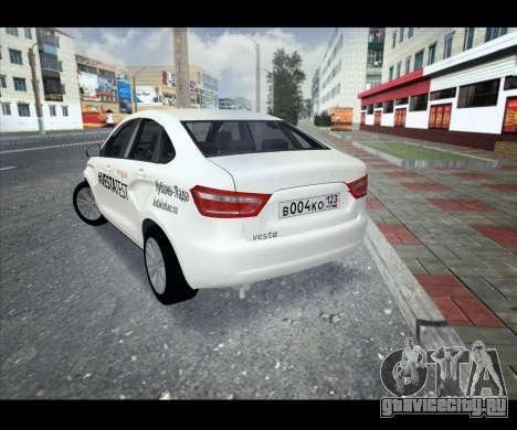 Lada Vesta VESTATEST для GTA San Andreas вид сзади слева