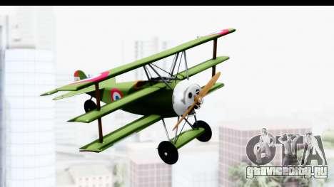 Fokker DR1 Old Paraguay Air Force для GTA San Andreas вид сзади слева
