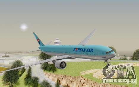 Boeing 777-300ER Korean Air для GTA San Andreas вид сзади слева