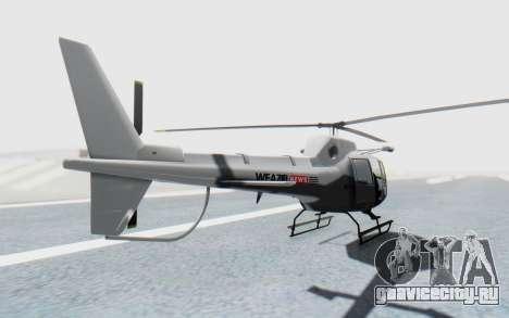 GTA 5 News Chopper Style Weazel News для GTA San Andreas вид сзади слева