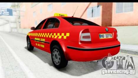 Škoda Superb Crveni Taxi для GTA San Andreas вид сзади слева