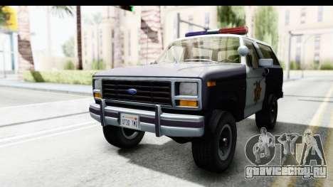 Ford Bronco 1982 Police для GTA San Andreas вид справа