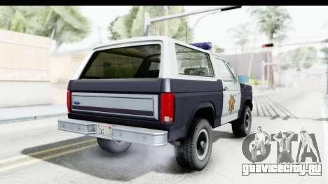 Ford Bronco 1982 Police для GTA San Andreas вид слева