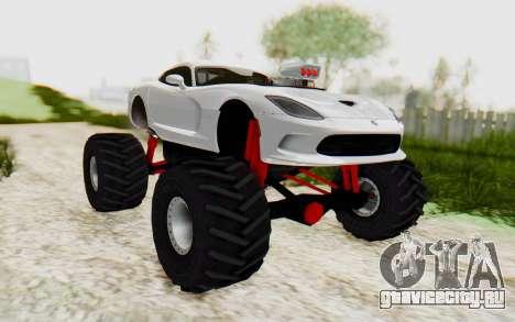 Dodge Viper SRT GTS 2012 Monster Truck для GTA San Andreas вид справа