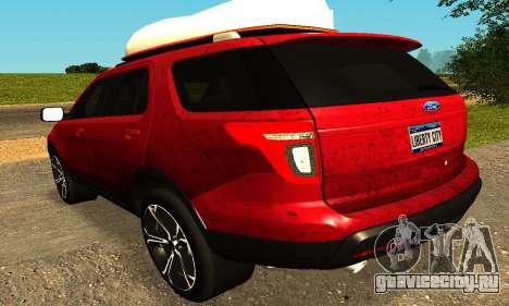 Ford Explorer 2013 для GTA San Andreas вид сзади слева