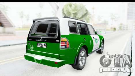 Mitsubishi Montero Carabineros Sección SIAT для GTA San Andreas вид сзади слева