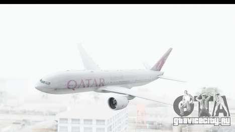 Boeing 777-200LR Qatar Airways для GTA San Andreas вид сзади слева
