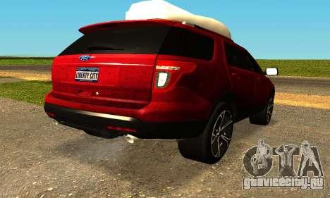 Ford Explorer 2013 для GTA San Andreas вид слева
