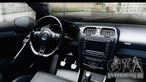 Volkswagen Golf R для GTA San Andreas вид изнутри